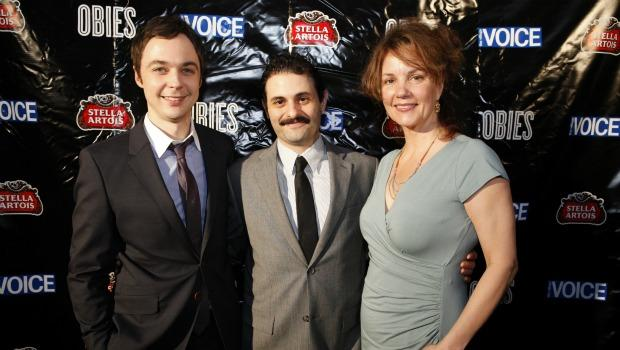 "Jim Parsons of ""The Normal Heart,"" Arian Moayed of ""Bengal Tiger at the Baghdad Zoo,"" and Margaret Colin of ""Arcadia"" at the 2011 Obie Awards."