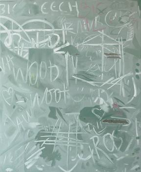 Artist Josephine Halvorson is also featured in the show at Sikkema Jenkins. Seen here: 'Chalkboard (Big Meech)', from 2012.