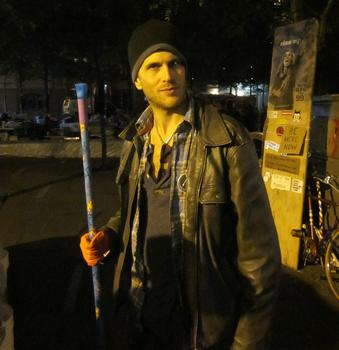 """John Murdock, 36, who is a sanitation volunteer at Zuccotti Park, says he's been """"waiting a long time for Americans to overcome their apathy."""""""