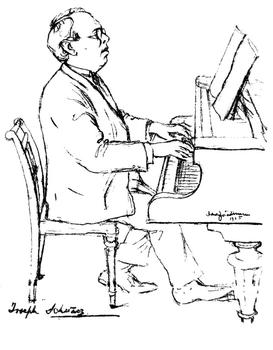 A drawing of musician Joseph Schwarz, drawn by David Friedman in 1925.