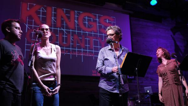 Jessi Klein competes against a member of the audience in a sound-effects quiz about famous movies.