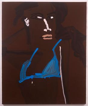 The show, which was organized by painter Eddie Martinez, features this 2007 work by Katherine Bernhardt titled 'Jaunelle Blue Bikini.'