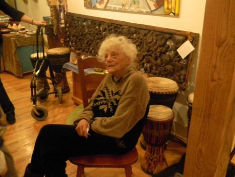 Kesii Mackaye,100, at the Women's Drum Cirlce at the TransNdanceNdrum Center.