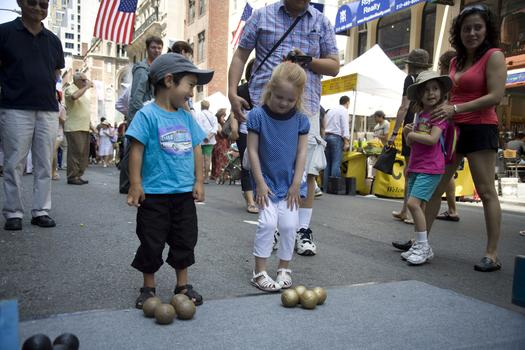 Children Playing Petanque at Bastille Day at 60th Street