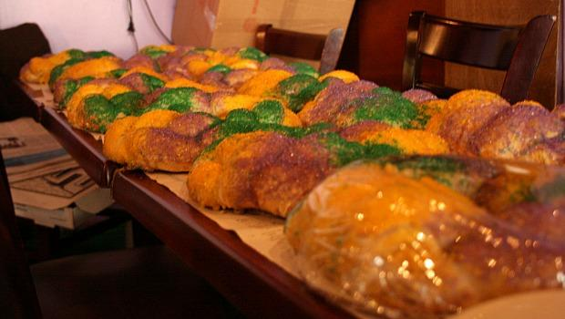 King's Cakes are colored with purple, green and gold sprinkles to symbolize truth, justice and power.