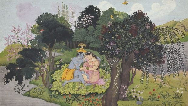 """Krishna with Radha in a Forest Glade"" by unknown artist, circa 1775."