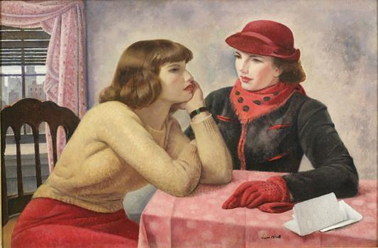 "This work in the academy's ""An American Collection"" exhibition called ""The Conversation"" was made by Abraham Leon Kroll in 1938."