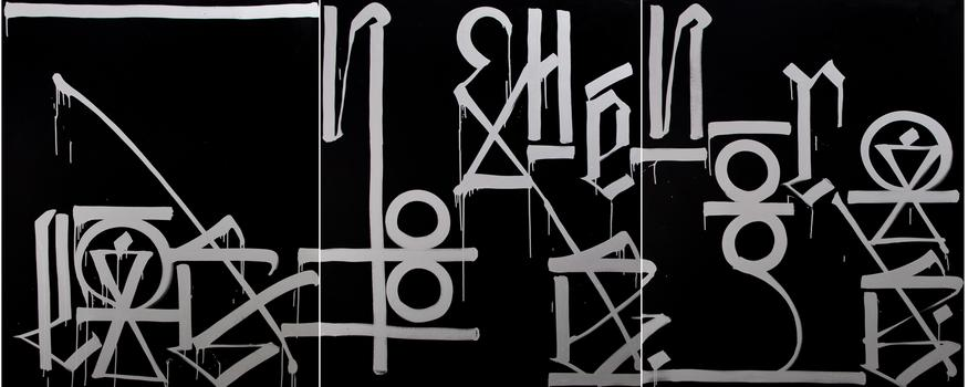 'Las Noches Negras,' by RETNA — a piece from his new solo exhibit organized by Valmorbida.