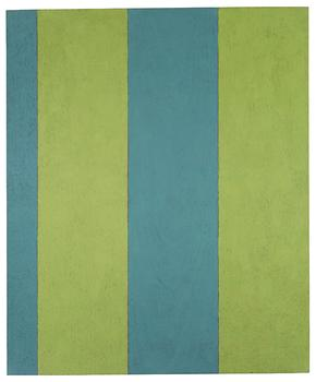 """Broad Stripe: 6"" from 1985 was made with casein paint and wax on mahoganey."