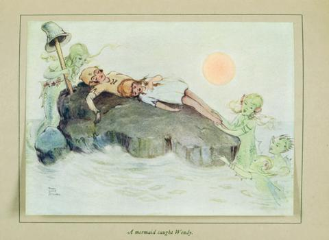 Mabel Lucie Attwell, Peter Pan and Wendy, 1921. Peter and Wendy on Marooners' Rock. (Lucie Attwell Ltd. Courtesy of Vicki Thomas Associates)