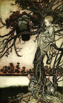 """Peter put his strange case before old Solomon Caw."" Peter Pan in Kensington Gardens, 1906, illustrated by Arthur Rackham."