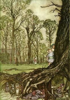 """Fairies are all more or less in hiding until dusk."" Peter Pan in Kensington Gardens, 1906, illustrated by Arthur Rackham."