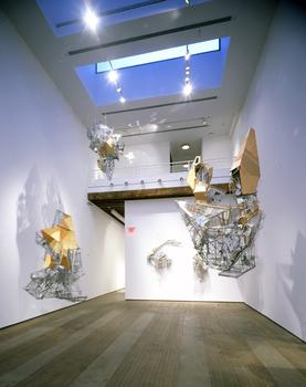 Lee Bul's arquitectonic sculptures hover over the main gallery space at Lehmann Maupin, on the Lower East Side.