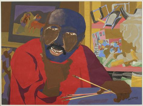 Jacob Lawrence painted his self-portrait with gouache and tempera on off-white wove paper in 1977.