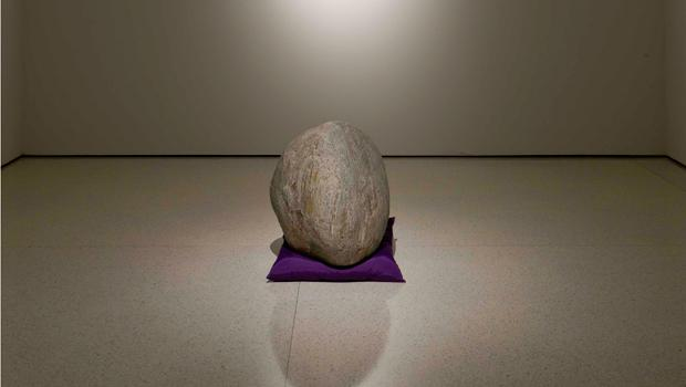 """Relatum"" (formerly ""Perception A""), 1969/2011, Stone, cushion, and light"