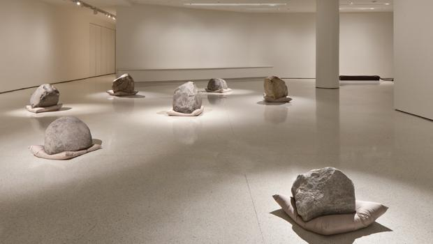 """Relatum"" (formerly ""Language""), 1971/2011 Cushions, stones, and light"