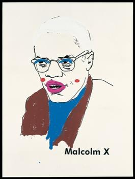 Ligon's coloring book Malcolm X at the Whitney. This work is part of a series, from 2000, in which the artist gave Minneapolis children vintage coloring books originally targeted at black youths.