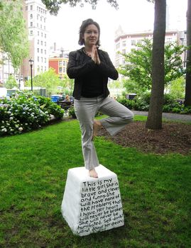 Aliza Dzik poses on a pedestal July made for women only.
