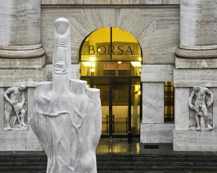 At the Guggenheim, Italian art-prankster Maurizio Cattelan is getting a career retrospective. Shown here: Cattelan's sculpture 'L.O.V.E.,' installed in front of the Milan stock exchange last year.