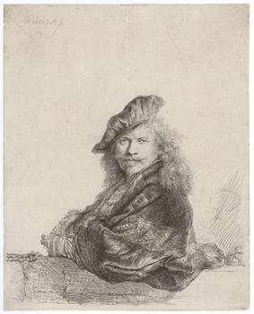 <em>Self-Portrait Leaning on a Stone Sill</em>, 1639