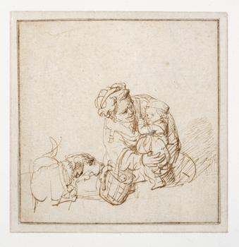 <em>Woman with a Child Frightened by a Dog</em>, c. 1635–36
