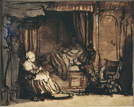 <em>Interior with Saskia in Bed</em>, c. 1640–42