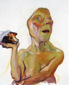 Lassnig frequently creates distorted figures whose uncanny stares can seem all too real. Above, 'Selbst mit Meerschweinchen,' from 2000/2001.