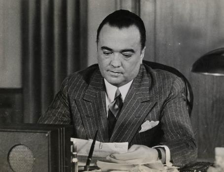 Famed long-time FBI director Edgar Hoover, as captured in a vintage 'March of Time' newsreel -- now screening at MoMA.