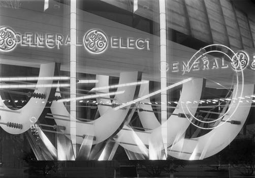 Márquez's more avant garde pictures are studies in form, light and shadow. New York City's landscape brought out this instinct in striking ways, such as this image of the GE logo reflected on glass.