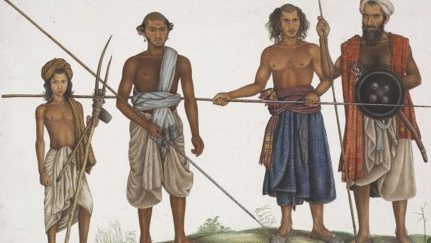 """Four Tribesmen,"" a piece from the ""Master of the Company School,"" circa 1815."