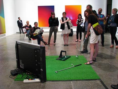 In 'Masters,' an interactive piece from 2011, Arcangel hacked the popular golf video game so that the player can never sink a putt. Arcangel revels in creating a sense of frustration.
