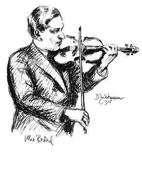 A Friedman drawing of violinist and viola player Max Rostal.