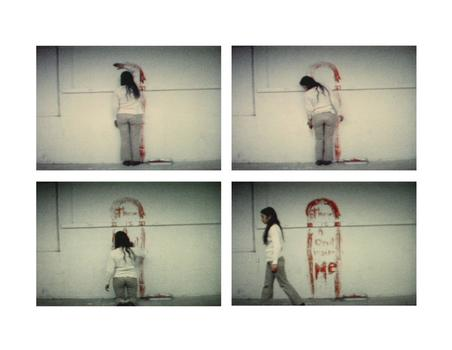 At Galerie LeLong, a retrospective to commemorate the 25th anniversary of Ana Mendieta's death. Above, a still from her 1974 Super 8 film 'Untitled (Blood Sign #1).'