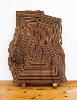 Middlebrook is inspired by minimalist artists of the 1970s, but instead of using industrial materials, he uses wood -- as seen in the sculpture 'Once again a version of nature through my eyes.'