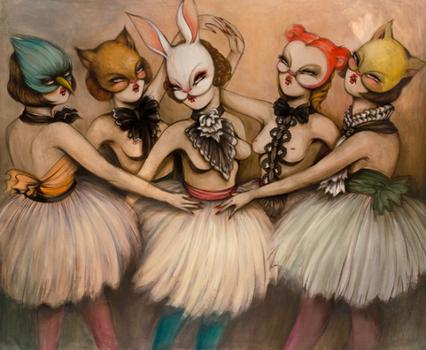 French street artist Miss Van will be showcasing her latest hybrid human-animal paintings at the Jonathan Levine Gallery in Chelsea. Above, 'Bailarinas,' a recent canvas.