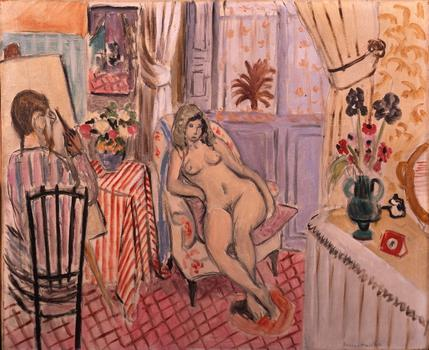 Matisse painted some of his models for years -- one of them appears in 50 different works. Seen here: 'The Painter and his Model: Studio Interior,' from 1921.