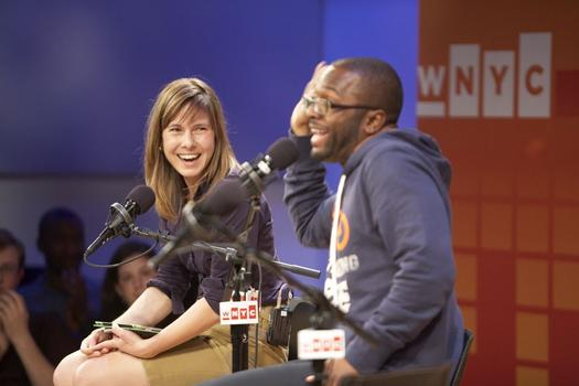 Baratunde Thurston, author of How to Be Black, appears at the It's A Free Country Super Tuesday party with host Anna Sale.