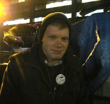 """Nate Barchus, 23, helped start an Occupy protest in his hometown befor heading to Occupy Providence and then Occupy Wall St., to """"see the mother ship."""""""