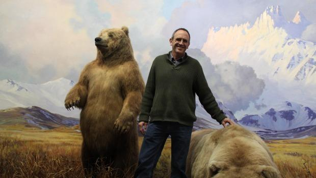 Rob Voss, Curator of Mammals, poses in one of the dioramas being restored.
