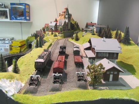 Part of Lorayne's model train set, seen from the side