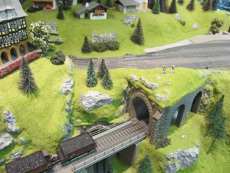An overhead view of Lorayne's model, on display at his store.