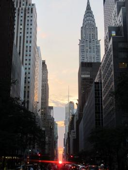 Full orb sun view of Manhattanhenge on Wednesday
