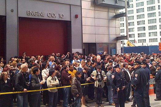 hundreds wait for the president's arrival outside Ladder 10 Engine Co. 10 in Lower Manhattan