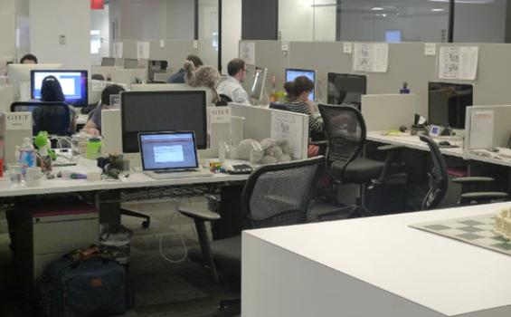 At online shopping website Gilt, there are no offices; everyone sits at tables with other members of their team.