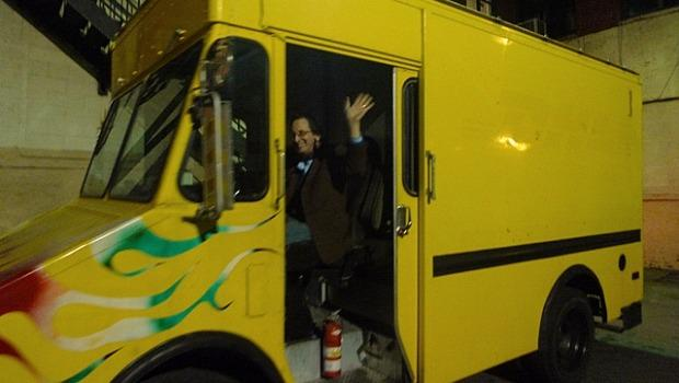 All aboard the Bowery Poetry Club's POEMobile! (Could it have been a DHL truck in a past life?)