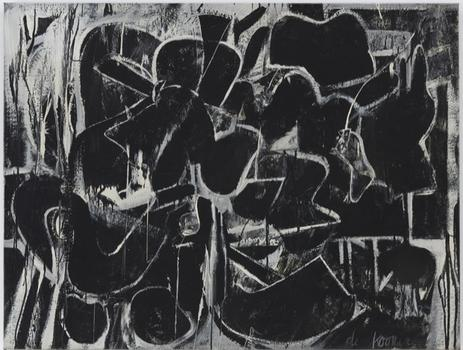 MoMA's de Kooning exhibit — which takes up the entire sixth floor — has gathered a wide gamut of works. Shown here: one of the many gritty black and white paintings the artist produced in the 1940s.
