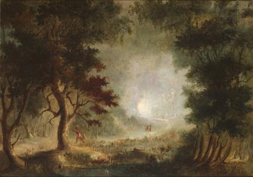 Though untrained, Duncanson became internationally renowned in his lifetime for peaceful canvases, such as 'Indians in the Woods,' from 1846.