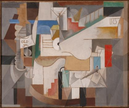 At MoMA: Picasso's visual odes to the guitar (and collage and Cubist sculpture). In this image, his 1912 painting 'Bottle, Guitar and Pipe.'