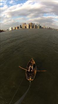 For years, Lorenz has been exploring New York's (and other cities') waterways in a handmade rowboat. Seen here: a shot from her mast.