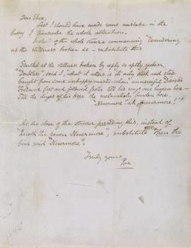 "Edgar Allan Poe (1809–1849) Letter signed ""Poe"": [New York], to John Augustus Shea, February 3, 1845"